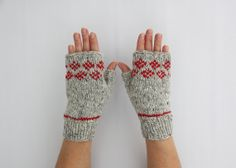 Gray Wool Fingerless Gloves with Diamond Pattern by HappyLaika, £32.00