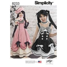 Misses' cosplay costumes from Lori Ann Costume Design are a ruffle lover's dream. Pattern includes corset, top, long and short skirts and petticoats. Hat and gloves not included. Simplicity sewing pattern.