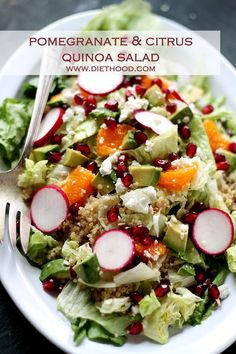 Pomegranate Citrus Quinoa Salad with Cranberry Pomegranate Vinaigrette ...