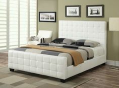 Create an uplifting look in your bedroom with this contemporary Tanner White Upholstered Queen Bed 300040Q. This bed display an attractive tufted headboard and footboard upholstered in padded leatherette for comfort and style.