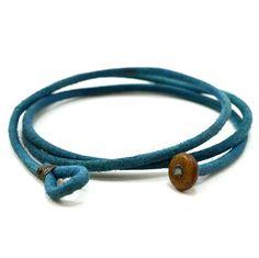 Mens blue triple wrap leather bracelet by lowusu on Etsy