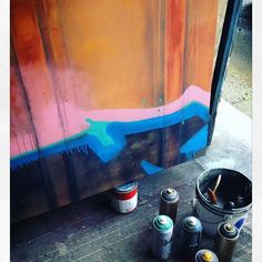 Taking a break from the tedious pixel paintings and Working on the 6ft rusted/graffiti train car paintings today for a client commission...#seattleartist #art #commission #painting #graffiti #traincar #freightgraffiti #freighttrain @_cfox #interiordesign #design #industrial #styling #moderndesign #home #interiordesigner #modern #designer #trend #pacificnorthwest #urbansoule #originalart #spraypaint #spraypaintart
