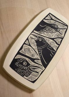 Laurie Landry Sgraffito cawing crows tray www.laurielandrypottery.com