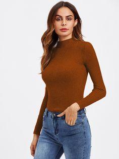 Turtleneck Ribbed Knit SweaterFor Women-romwe