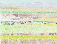 "#Robert #S. #Lee #cattle #landscape #Apostle #Paul #Greece Saatchi Art Artist Robert Lee; Drawing, ""Cattle by Robert S. Lee"" #art"