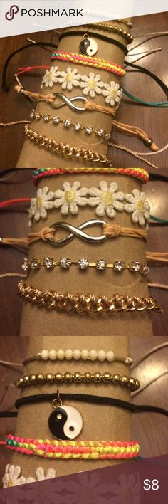 $8 or FREE when you buy $50 or more from my closet $8 or free when you buy $50 or more here. Eight cute tie bracelets (white, gold, crystal beads, charms, flowers, satin ties, etc) all fun and cute! From PacSun. PacSun Jewelry Bracelets