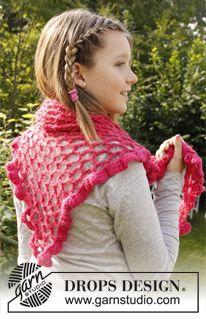 crochet scarf -háčkovaný šátek s krajkovým vzorem z příze ˝Alpaca˝ a ˝Vivaldi˝. ~ DROPS Design