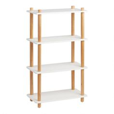 White and Natural Elliot Bookshelf | World Market