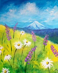Easy wildflower field with mountain beginner painting idea. - Easy wildflower field with mountain beginner painting idea. Easy wildflower field with mountain beginner painting idea. Easy Canvas Painting, Summer Painting, Simple Acrylic Paintings, Easy Paintings, Diy Painting, Easy Landscape Paintings, Mountain Paintings, Spring Art, Beginner Painting