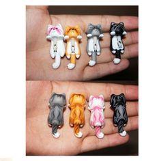 30%OFF 4 Colors Grey Pink Hanging Angry Cat Kitty Dust Plug 3.5mm Phone Charm Headphone Jack Earphone Cap iPhone 4 4S 5 6 iPad HTC Samsung