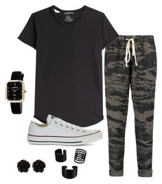 """""""Black2"""" by zahra00762 on Polyvore featuring Enza Costa, Alexander McQueen, Converse, Erica Lyons and Akribos XXIV"""