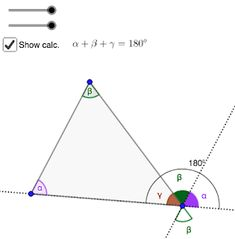 GeoGebra lessons: Angles of a triangle. Interactive tool that demonstrates why sum of triangle angles is Math. Triangle Angles, Math Lessons, Coding, App, Teaching, Activities, Apps, Education, Programming