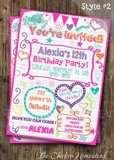 Custom Girl's Sweet 16, Tween, Teen, Sleepover, doodle birthday invitation!! Digital-printable-invite!! Two styles to choose from!