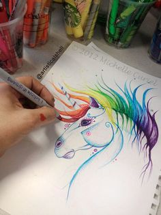 I believe in Unicorns  Original Drawing 9x12 by michellecuriel, $69.99