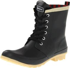 Tommy Hilfiger Women's Renegade Rain Boot, Black, 9 M US. Rain boot with contrast toe cap featuring lace-up closure and logo on tongue. Striped pull-loop at heel. Lugged outsole for traction. Rain Shoes, Shoes World, Cool Boots, Women's Boots, White Boots, Tommy Hilfiger Women, Timberland Boots, Ankle Booties, Autumn Fashion