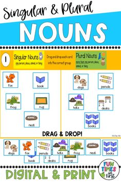 English Activities For Kids, Learning English For Kids, English Lessons For Kids, English Language Learning, Learn English Words, Teaching English, Plural Nouns Worksheet, Plurals Worksheets, Nouns And Verbs