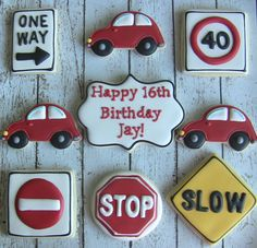 One Dozen Birthday New Driver Themed Decorated Sugar Cookies Minion Cookies, Car Cookies, Fancy Cookies, Easter Cookies, Royal Icing Cookies, Birthday Cookies, Cookies Et Biscuits, Boy 16th Birthday, Sweet 16 Birthday