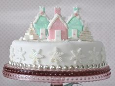 Christmas - Pastel - Cake - Pink - Green - White - Snowflake - Sweet - Candied
