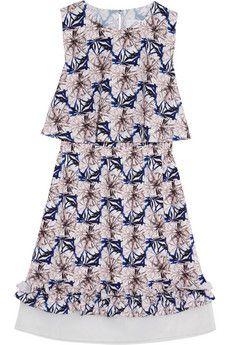 Steve J & Yoni P Organza-trimmed printed jersey mini dress | NET-A-PORTER