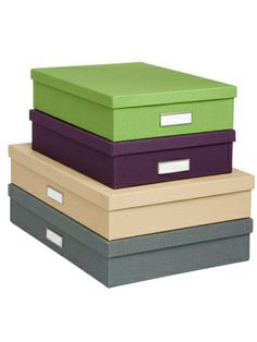 Library Office Storage Boxes, $12 to $15each, ContainerStore.com