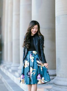 Extra Petite - Fashion, style tips, and outfit ideas Floral Skirt Outfits, Floral Pleated Skirt, Modest Outfits, Modest Fashion, Fashion Outfits, Floral Dresses, Jw Mode, Leather Jacket Outfits, Extra Petite