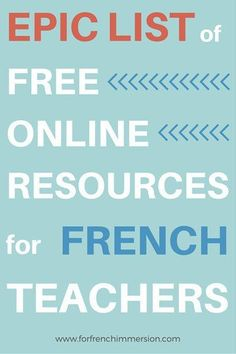 Free Online Resources For French Teachers – For French Immersion – Epic list o… - Pin Hairs How To Speak French, Learn French, Teaching French Immersion, French Flashcards, High School French, French Teaching Resources, Teaching Tools, Teaching Activities, Classroom Resources