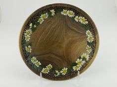"""313p 7 1/2"""" butternut pierced with acrylic painted daisies. enhancedwoodturning@gmail.com"""