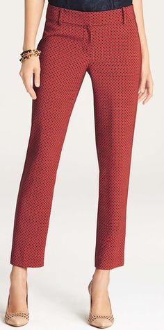 Cropped trousers are a stylish business casual alternative to full-length trousers or a pencil skirt.