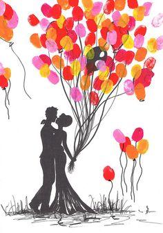 Hochzeitsgästebuch - Wedding Tree Fingerabdruck Hochzeit handgemalt - ein Designerstück von ARTelier-Franzke bei DaWanda