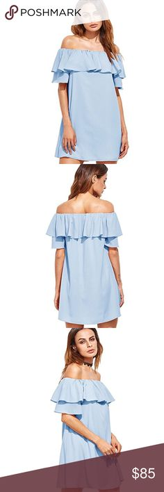 Ruffle Off Shoulder Short Sleeve Loose Shift Dress Pretty powder blue, chic off Shoulder style, feminine ruffled overlay, this dress is perfectly on trend 👌  ❌ Sorry, no trades.  fairlygirly fairlygirly Dresses Mini