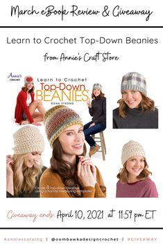 Learn to Crochet Top-Down Beanies Learn to Crochet Top-Down Beanies includes instructions to help you crochet hats in any size using a circle template and simple stitches. Read my book review and enter the giveaway to win your own copy of this eBook. Giveaway ends April 10, 2021 at 11:59 pm ET. Open Worldwide where allowed by Law. Void in Quebec. Giveaway not affiliated with Facebook, Instagram or Pinterest. Annie's Crochet, Crochet Beanie, Learn To Crochet, March Book, Circle Template, April 10, Facebook Instagram, Quebec, Beanies