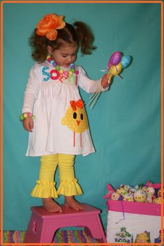 Girl EASTER Dress  Personalized Chick Dress by SweetSophiaBowtique, $48.99