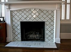 Moroccan lattice tile fireplace. Yes please.