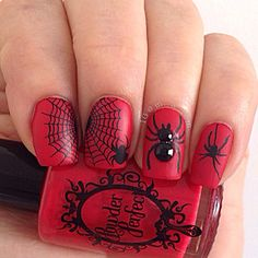 Creepy Cool Nail Art Inspiration Source Instagram @loveslacquer - Spiders and Webs. @powderperfect perfect red so heaven only knows why It was untried, with @mundodeunas Black and stamping plates @lesly_plates LS-12, @vividlacquer VL 013 and @bundlemonster BM 013 and @bornprettystore studs and acrylic paint. I hate spiders