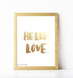 Printable  Hello love Wall Art Decor by heysweetpeas on Etsy