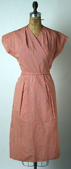 Cotton dress, shorts and bikini top by Claire McCardell, Manufacturer: Townley Frocks. Metropolitan Museum of Art, New York. Credit Line: Gift of Claire McCardell, Day Dresses, Nice Dresses, Summer Dresses, 1940s Fashion, Vintage Fashion, Vintage Dresses, Vintage Outfits, Vintage Clothing, Claire Mccardell