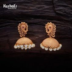 earrings studs Vintage Design Antique Peacock Jhumka earrings studded with Ruby synthetic stones, with gold Polish. Jewelry Design Earrings, Gold Earrings Designs, Jhumka Designs, Craft Jewelry, Necklace Designs, 1 Gram Gold Jewellery, Gold Jewelry, India Jewelry, Ethnic Jewelry