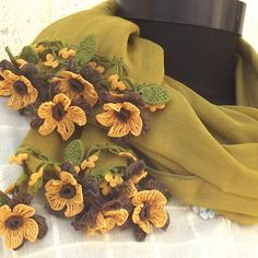 Turkish OYA Lace - Flower stole/Deap Mustard - Scarf Shawl For Her Gift For Women Winter Scarf Women Fashion Accessories by DaisyCappadocia on Etsy