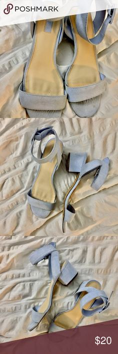 Baby blue faux Suede heeled sandals Baby blue faux Suede heeled sandals. Only worn 3 times, really good condition. Cute for casual or dress wear! Sweet, pretty color. Feel free to make an offer! ✨ Forever 21 Shoes Sandals