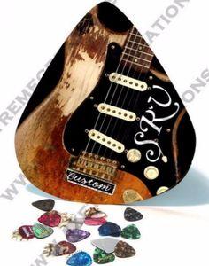 SRV❤   guitar pic, Giant / HUGE Guitar Pick Wall Art - SRV Vaughan Closeup of First Wife…