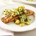 One of my favorite summer recipes, Ginger-crusted salmon with melon salsa