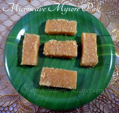 Microwave Mysore Pak:  Are you looking for an instant sweet dish to make for your guests or just to treat yourself?? Well, it can't get easier... Here is the recipe for Instant Microwave Mysore Pak that you can make in less than 5 minutes. Check out the recipe @ http://simpleindianrecipes.com/Home/Microwave-Mysore-Pak.aspx