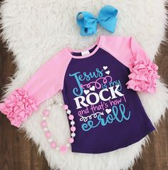 """""""Jesus is My Rock and That's How I Roll"""" PINK Ruffle Shirt 