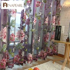New classical classic flower curtain window screening customize finished products purple tulle curtain