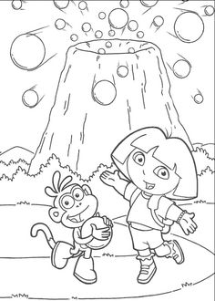 Dora And Boots Are Near Mount Coloring Pages
