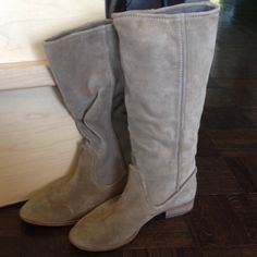 """Belle By Sigerson MorrisonSuede Boot. Size 9.5. Belle By Sigerson Morrison mushroom color suede boot with round toe and 1"""" heel. Size 9.5. Gently worn. Hits 15"""" from the ground just at mid-calf with a 16.5"""" circumference Belle by Sigerson Morrison Shoes"""