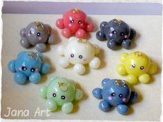 Cute kawaii hexapus made from cold porcelain. Visit https://www.facebook.com/artelien <3