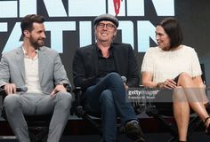 (L-R) Executive producer Keith Redmon, creator/executive producer Olen Steinhauer, showrunner/executive producer Bradford Winters, actors Mina Tander, Richard Armitage, Rhys Ifans, Michelle Forbes, Richard Jenkins, Tamlyn Tomita and Leland Orser speak onstage during the 'Berlin Station' panel discussion at the EPIX portion of the 2016 Television Critics Association Summer Tour at The Beverly Hilton Hotel on July 30, 2016 in Beverly Hills, California.