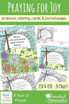 Pray for more a more joyful family with these journaling pages, scripture cards, coloring pages and more!  via @TaunaM