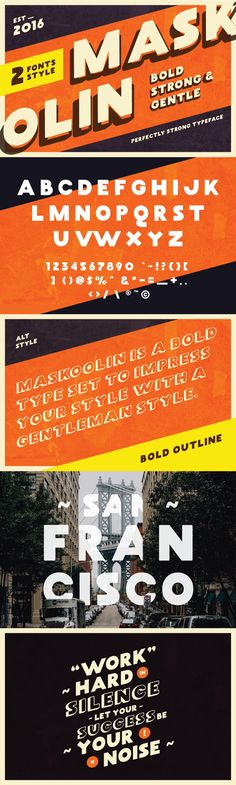 Introducing Maskoolin Typeface from Koll KollsInspired by a vintage era or 90's look, Maskoolin is a bold display font which will add more personality to your work. In the download you get 2 fonts – A regular font and an alternate shadow style font.Co…